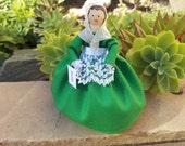 Ireland clothespin doll, Irish doll - green dress - ready to ship