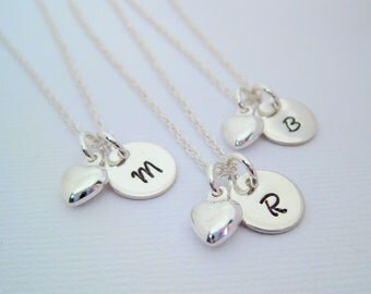 Bridesmaid Necklace - Bridesmaid Gift - Monogrammed Pendant with Puffy Heart Charm