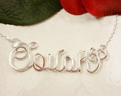 Sterling Silver Personalized Calligraphy Script Name or Word Necklace