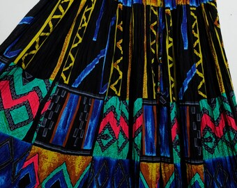 Awesome Vintage 80s/90s Amazing Funky Tribal Art Abstract Print Ruffle High Waisted Skirt Women