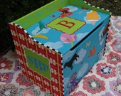 Personalized Toy Box Custom Hand Painted Toy Chest Toy Box Treasure Chest Kid's Toy Box Storage Box for Children Personalized Toy Box