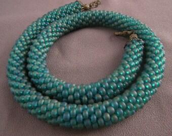 Crocheted Beaded Blue Necklace/ Crocheted Beaded Blue Choker