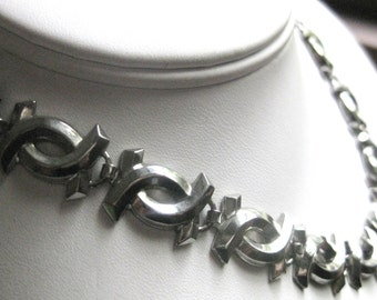 Vintage Interlocking C Necklace Choker Metal