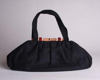 50s Black Handbag - Vintage 1950s Long Black Felt Purse - Wool Purse