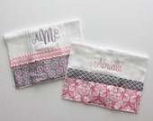 2 Personalized Burp Cloth Set in Light Pink and Gray - Flowers and Damask