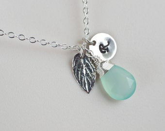 Initial Necklace,Mint Green Chalcedony Initial Necklace, Sterling Silver Mint Leaf, Mint Green Chalcedony Necklace, Personalized Necklace