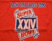 1990 super bowl knit throw blanket