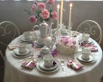 Vintage Bavarian coffee/tea dessert set Rialto pattern Bavaria Germany gray and white porcelain imported