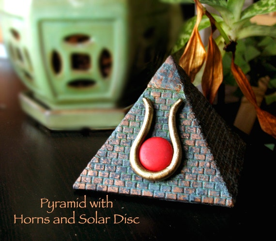 The Egyptian Pyramid with Horns and Solar Disc - Ben-ben Symbol of the Mountain of Creation - Handmade Altar Statue