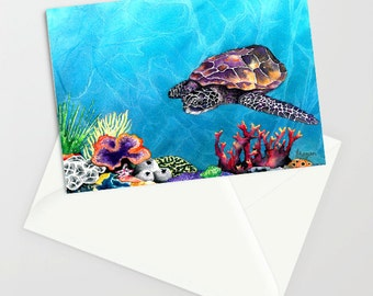Sea Turtle Art Card Ocean Life Water Painting