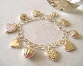Heart Charm Bracelet, SALE, Sterling Silver Hearts, Vintage Inspired, Heart Charms