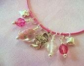 Girl Necklace, Glow in the Dark, Tea in the Rose Garden, Heart, Little Girl Jewelry