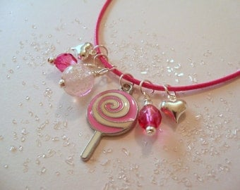 Girl Necklace, Little Girl Jewelry, Lollipop, Glow in the Dark, Pink