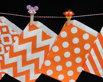 Orange Favor Bags, Candy Buffet Bags, Candy Bags, Bakery Bags, Paper Bags, Birthday Parties, Packaging, Baking Supply, Wedding - Qty 12