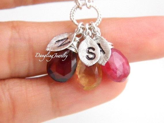 Personalized Mother Necklace, Three Birthstones Initial Necklace, Family Necklace, Birthstone Necklace, Gemstone Jewelry, Nana Jewelry