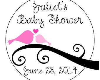 baby bird baby shower stickers, custom baby shower stickers, baby girl labels, pink swirl baby shower labels, 3 sizes available
