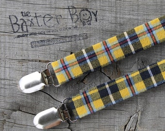 Black & yellow plaid suspenders for little boys - photo prop, wedding, ring bearer, accessory