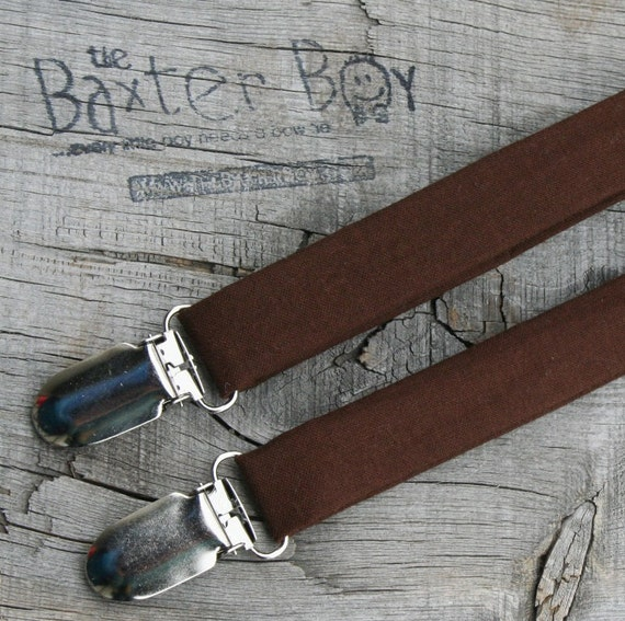 Solid Chocolate Brown little boy matching suspenders - photo prop, wedding, ring bearer, accessory