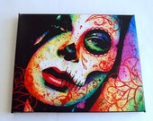 8x10 in Stretched Canvas Art Print - Dead Inside - Day of the Dead Sugar Skull Girl Tattoo Pop Art Rainbow Colorful Home Decor Artwork