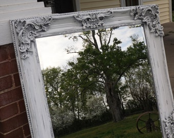 Shabby Chic, Ornate Mirror,  Wall Ornate Mirror, Salon Mirror,  Distressed White as Shown, or Choose Color,  Overall: 42 x 30