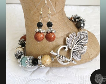 """7.5"""" """"Nothing Matches"""" Bracelet Gemstones Fall Colors Black Onyx Pewter Spacers Pewter Grape Leaf Toggle Clasp And/Or Silver Dangle Earrings"""