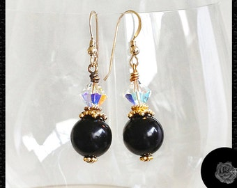Hook Earrings 12mm Black Onyx Rounds 8mm Swarovski Clear AB Crystal Bicones 18K Gold Vermeil Spacers Bead Caps 14K Gold-Filled Ear Wires