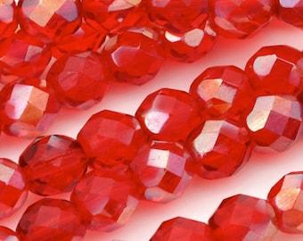 Firepolish-8mm Beads-Celsian Siam Ruby-Quantity 25