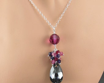 Fuchsia Silver Night Multi Crystal Cluster Sterling Silver Necklace