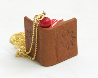 Miniature Book Necklace // Brown Leather Book Pendant