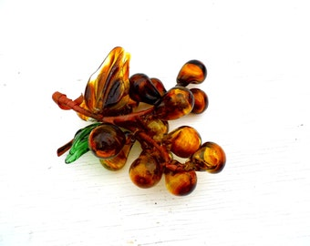 1960s Glass Grapes Bunch, 1960s Handblown Amber Glass Grapes, Mid Century Kitschy Home Decor