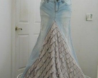 Belle Époque ruffled jean skirt almond beige taupe  bohemian mermaid beach wedding  Renaissance Denim Couture