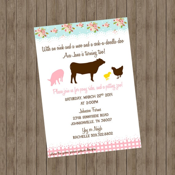 Shabby Chic Oink and a Moo and a Cock-A-Doodle-Doo Farm Printable Invitation