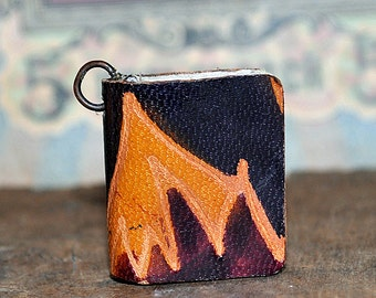 Dreams of India, tiny leather journal book, handmade, miniature, jewelry art, necklace, accessory, JunqueTreasures