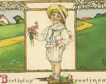 Child with Flower Bouquet and Present Kathryn Elliott Vintage Birthday Postcard from Gartner & Bender