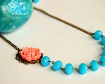 Turquoise beaded adjustable necklace with salmon rose antique brass chain necklace, christmas, necr heklace, wedding necklace, bridesmaid