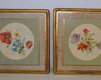 Vintage Toleware Florentine Wooden Wall Plaques (Pair) Flowers - Made in Italy
