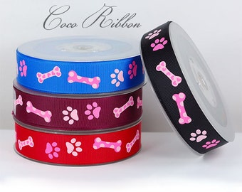 10/25 yds 7/8 22mm Black / Red / Blue Dog Bone Paw Print Grosgrain Ribbon