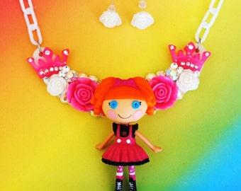 Sale Swarovski Crystal Lalaloopsy Doll Bib Necklace and Earring Set