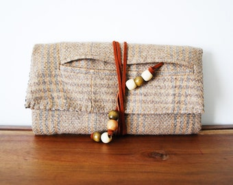 Beige Plaid Wool Trifold Clutch Wallet with Cognac Leather Tie