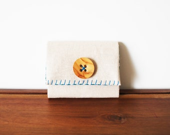 CLEARANCE-- Cream Linen Business Card Holder with Wooden Button