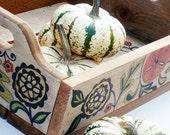 Cedar Table Top Tray Hand Painted Autumn Tabletop