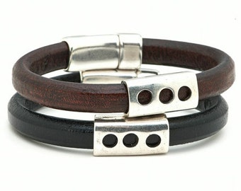 Triple Play - handmade genuine leather bracelets - men's and women's jewelry to benefit JDRF type 1 diabetes research