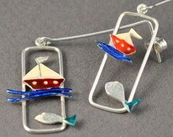 Silver earrings, Boat with Fish earrings, liquid glass earrings, red enamel earrings, blue enamel earrings