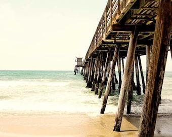 "Beach Photography, Pier Photograph, San Diego California, Beach Wall Art, Summer. Beige Neutral Wall Art ""Down By The Pier"""
