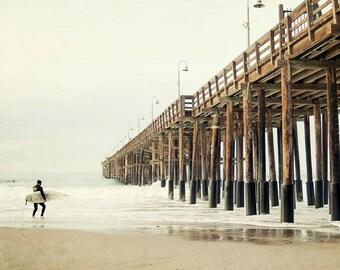 "Ventura Pier Photography, Surfer Wall Art, Surf Decor, Beach Photography, Beige, White, Pale, Surfer Wall Decor ""High Surf"""