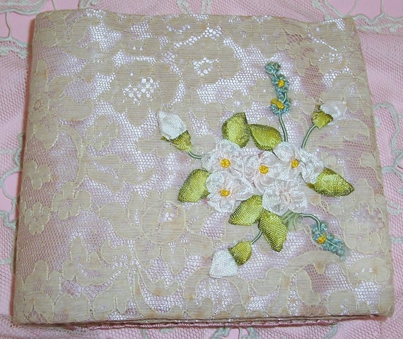ANTIQUE Silk & Alencon Lace Needle, Pin Case, Holder w/ French RIBBON Rose Applique