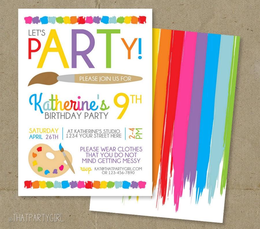 Art Party Invitation Art Birthday Invitation Art Party