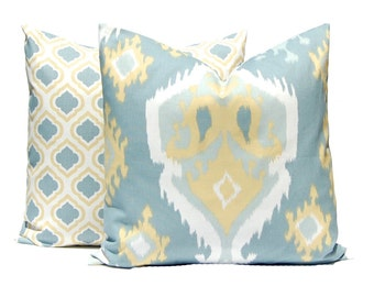 Gold and Gray Pillow Covers - Throw Pillow Covers - Gold Decorative Pillows - Ikat Pillow Cover Gold and Gray - Yellow Pillow Covers
