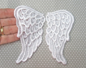 LARGE White Venice Lace Wings PAIR Angel Fairy Cherub Venise Valentines