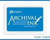 Large MANGANESE BLUE Ink pad - Ranger Archival, 4x6 big jumbo Dye Acid Free